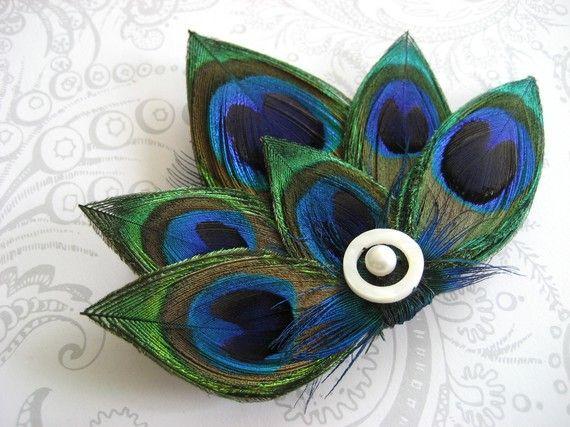 allison feather hair clip - peacock
