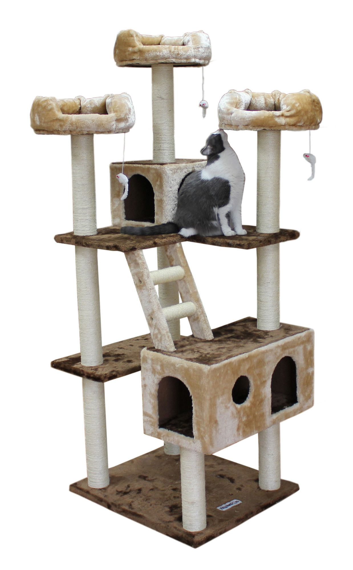"""Kitty Mansions 73"""" Beverly Hills Cat Tree in Brown and"""