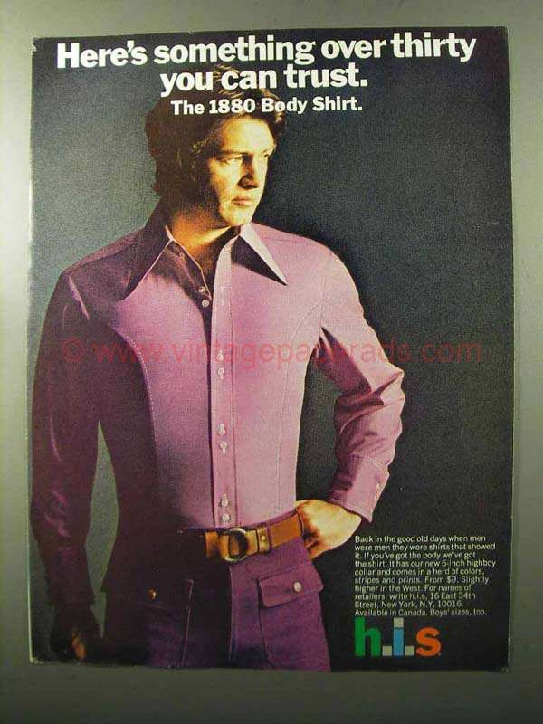 1970 h.i.s. 1880 Body Shirt Ad – Something Over Thirty