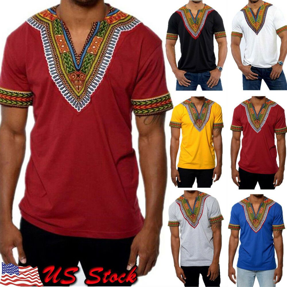 Dashiki African Tribal Men Short Sleeve Tribal Shirt Succinct Hippie Tops Blouse