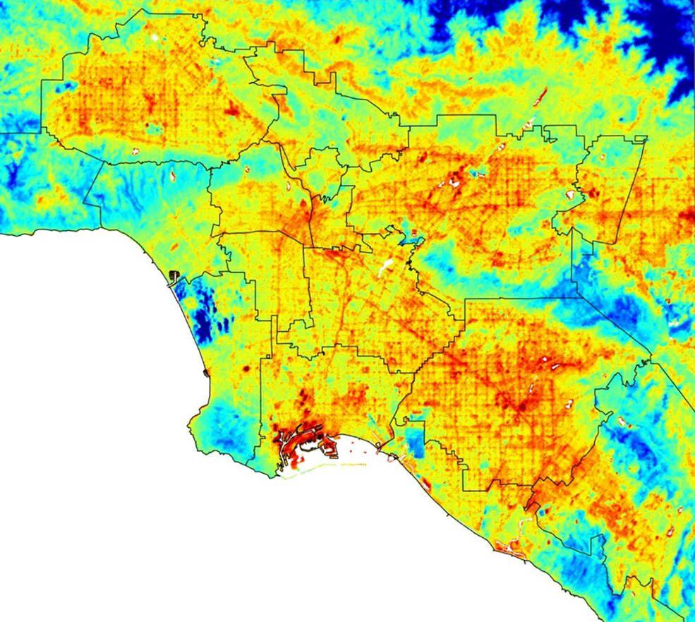 Ecostress Maps La S Hot Spots Hot Spot Nasa Los Angeles