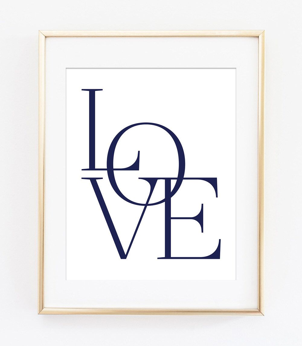 Love Print, Love Wall Art, Love Printable, Typography Poster, Navy  Typography,