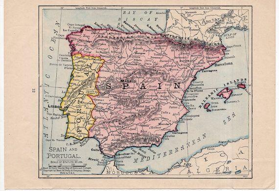 Map Of Spain 1930.C 1930 Spain Great Britain Mini Map Original Vintage Map