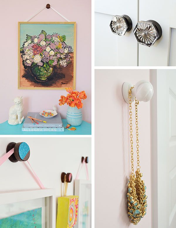 Use the white Young House Love hooks (from Home Depot) to hang frames w/ Grandpa's sketches