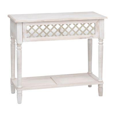 Distressed White Lattice Console Table