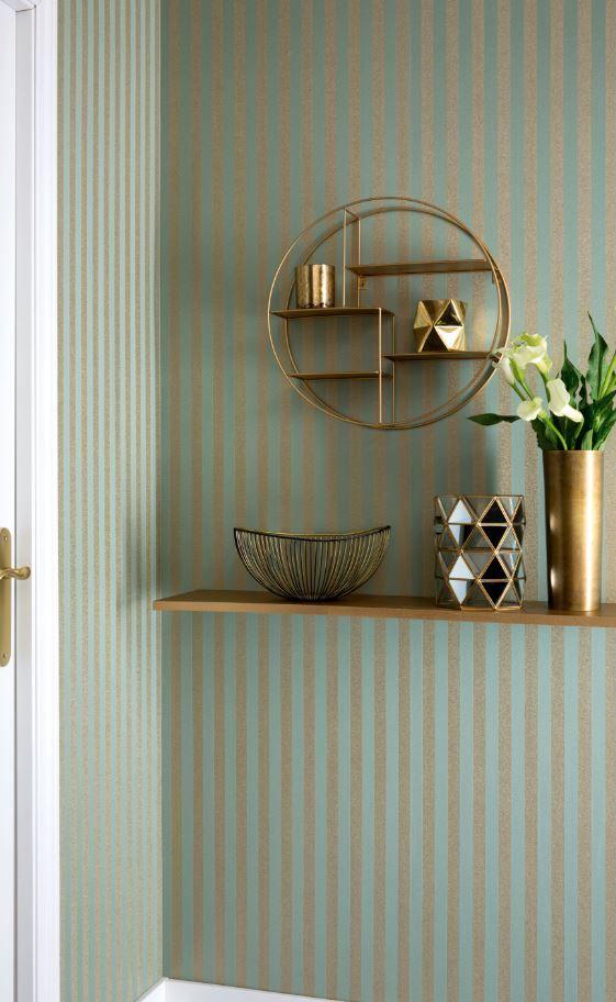 D jate seducir por la combinaci n de verde y dorado de - Papel pared rayas verticales ...