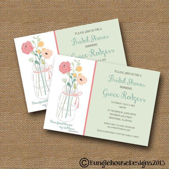 Bridal Shower Wedding Invitation DIY PRINTABLE Floral Mason Jar – Bible Verses for Wedding Invitation Cards