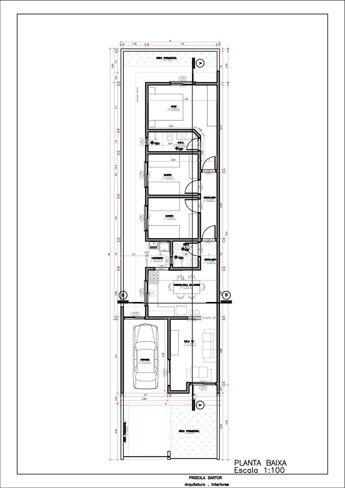 planos de casas 5x25
