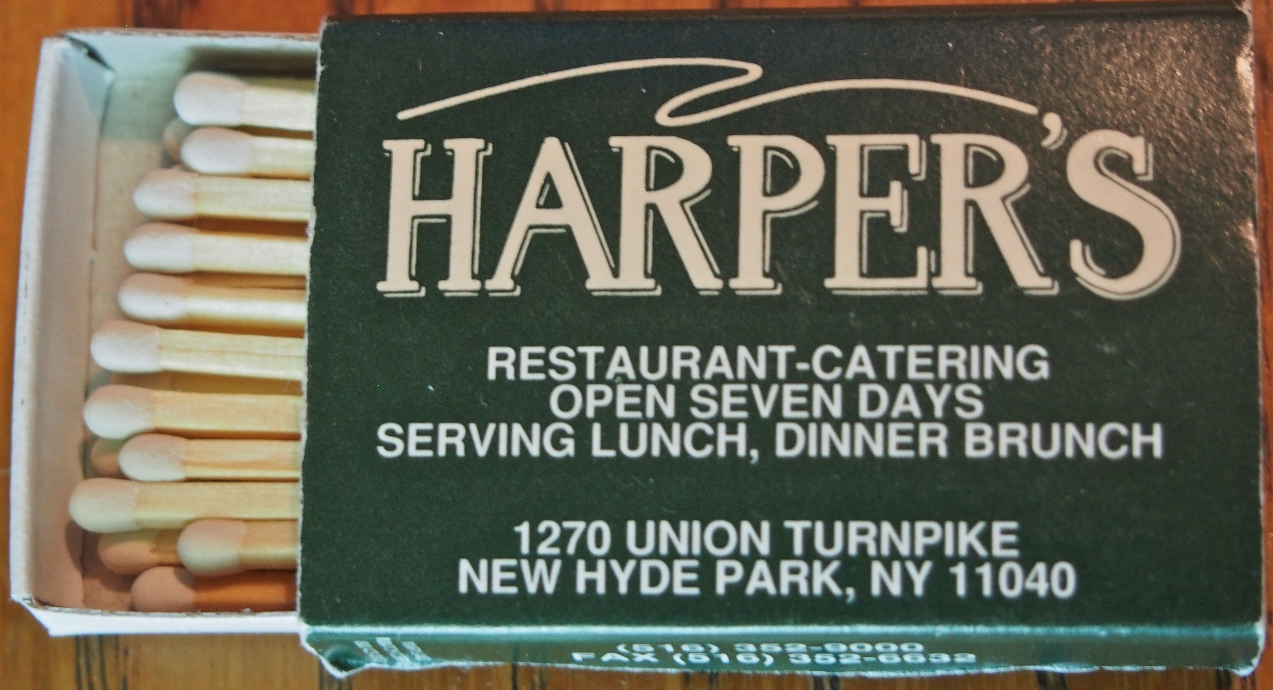 Harper's Restaurant - New Hyde Park, NY #matchbox To order your business' own branded #matchboxes call TheMatchGroup @ 800.605.7331 or go to www.GetMatches.com today!