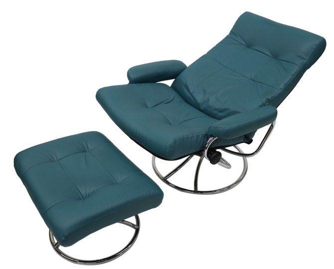 Ekornes Scandinavian Mid Century Reclining Lounge Chair And