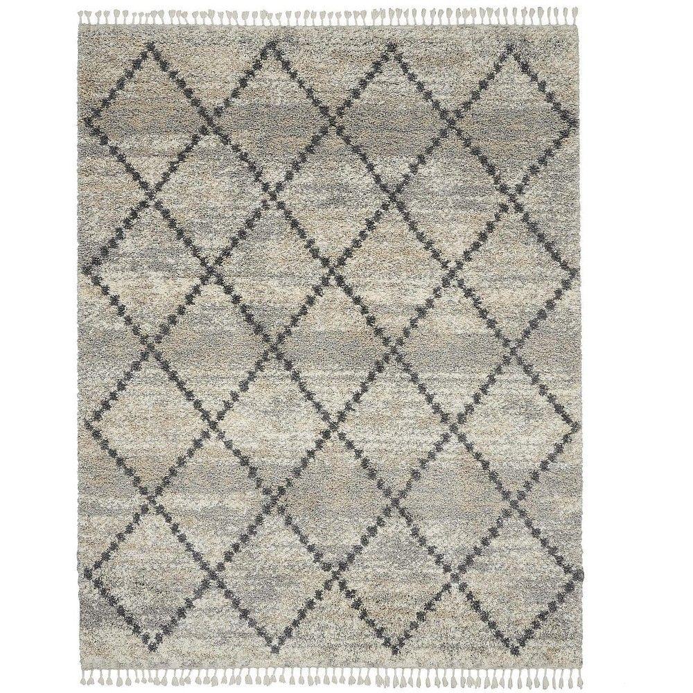 Nourison Scandinavian Shag Scn01 Silver Charcoal Beige Indoor Area Rug 7 10 X 10 6 Grey Area Rug Nourison Rugs