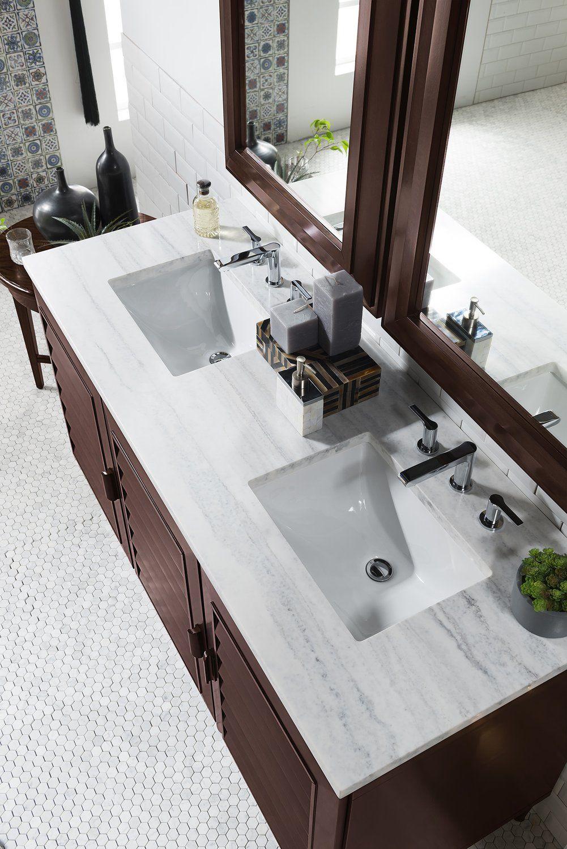 "60"" Portland Burnished Mahogany Double Bathroom Vanity ..."