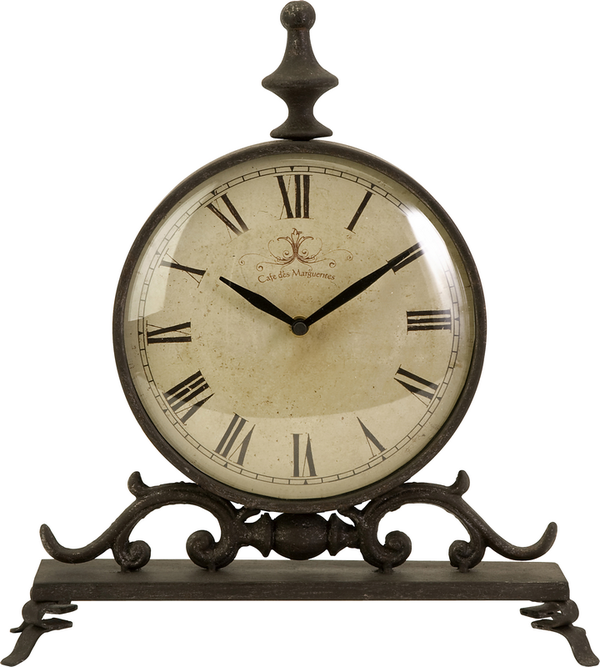 Etonnant Iron Table Clock With A Roman Numeral Dial And Turned Finial. Product: Table  Clock Construction Material: Iron And Glass Color: Bronze Features: Roman  ...