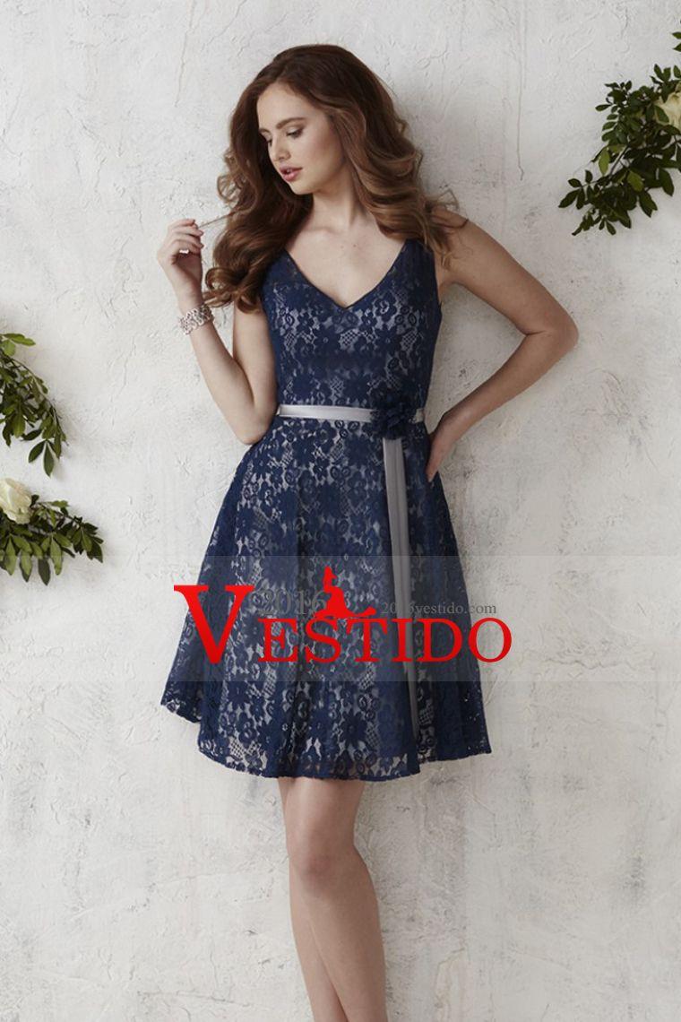 2016 cuello en V vestidos de honor Una línea de encaje con el marco ...