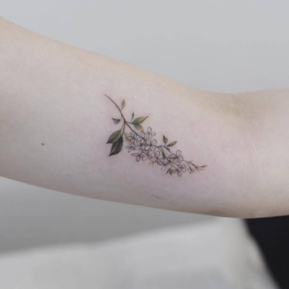 Lilac Flowers On The Left Inner Arm Inner Ankle Tattoos Lilac Tattoo Small Flower Tattoos