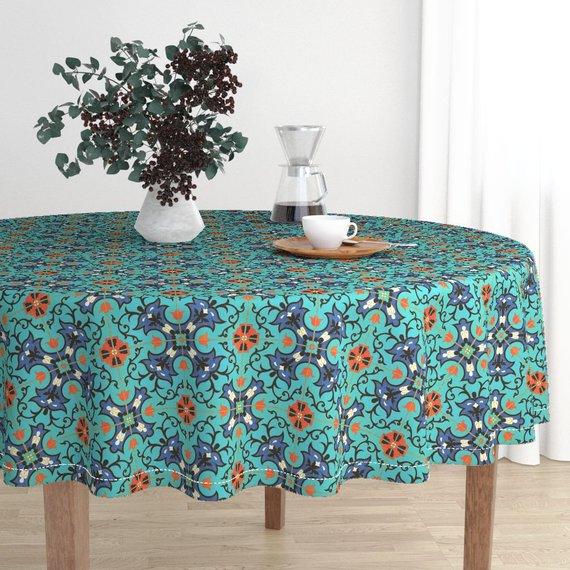 Spanish Style Round Tablecloth Azulejos Antiguos 1a By Muhlenkott Turquoise Cotton Sa Circle