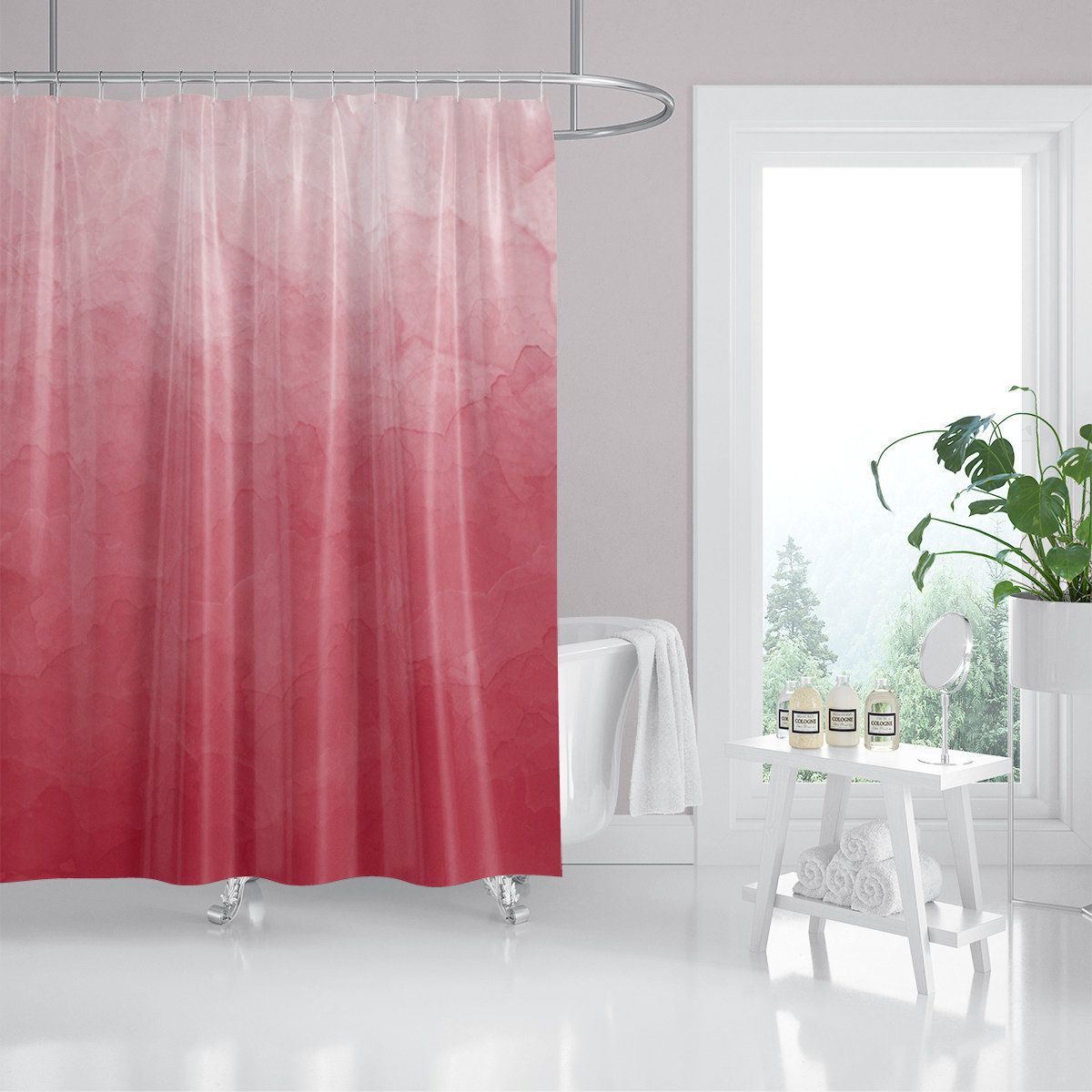 Rose Pink Ombre Fabric Shower Curtain Custom Shower Curtain Red
