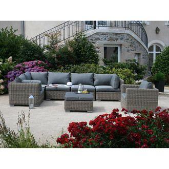 Salon de jardin bas 6 personnes modulable : grand canapé d\'angle + ...