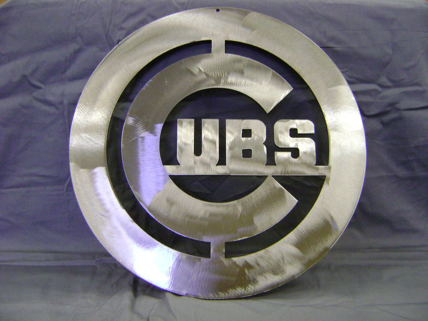 "Metal Sign Wall Decor Amusing Metal Sign Steel Sign ""chicago Cubs"" Sign Baseball Sign Wall Design Inspiration"