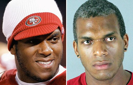 Former San Francisco 49ers and Oakland Raiders offensive tackle Kwame Harris was arrested and charged with assaulting his ex-boyfriend after arguing over soy sauce and underwear at a San Mateo restaurant.