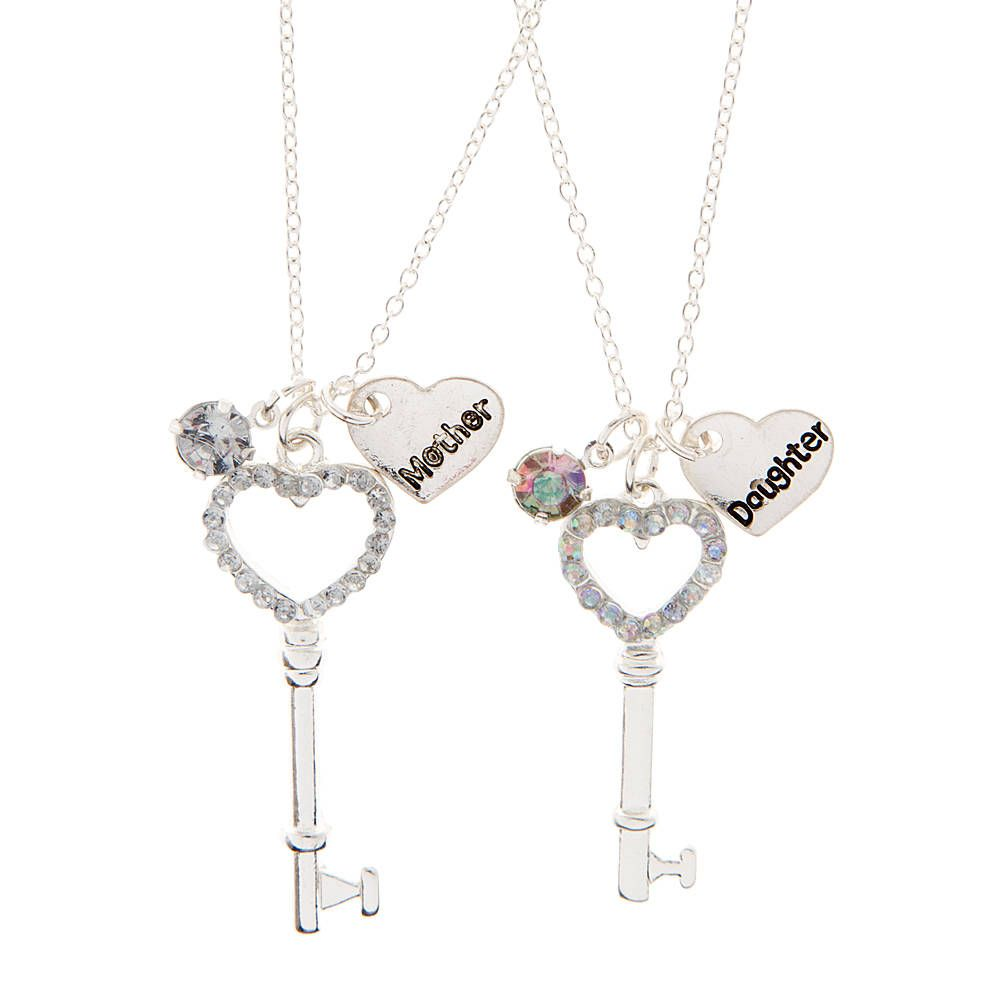 Mother daughter rhinestone heart key pendant necklaces claires mother daughter rhinestone heart key pendant necklaces claires aloadofball Image collections