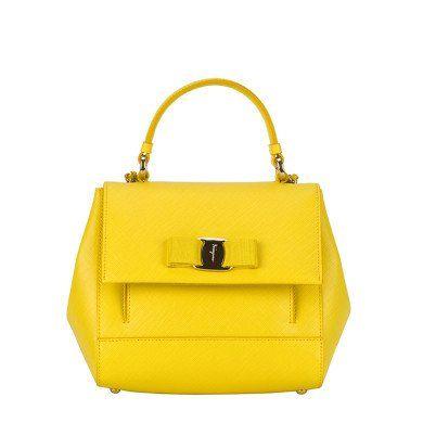 a46fe81bed SALVATORE FERRAGAMO Salvatore Ferragamo Yellow Leather Handle Bag.   salvatoreferragamo  bags  shoulder bags  hand bags  leather  lining