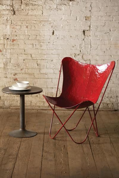 Iron Butterfly Chair   Antique Red