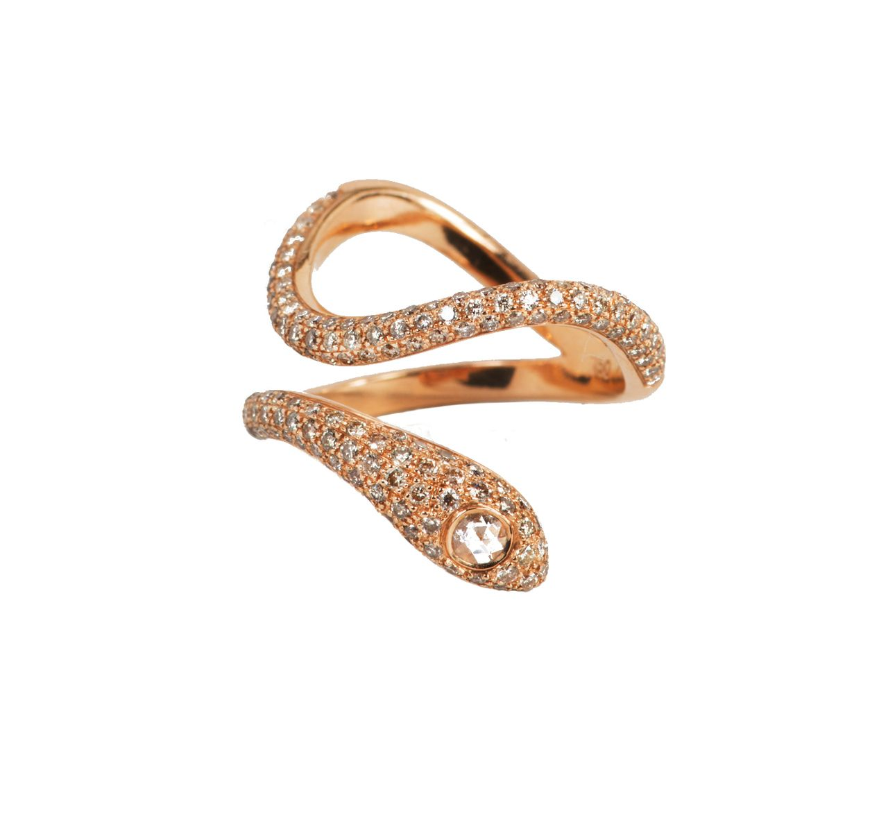 Rose Gold Champagne Diamond Snake Ring Snake ring Champagne