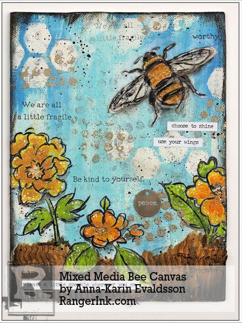 Mixed Media Bee Canvas by Anna-Karin Evaldsson | www.rangerink.com
