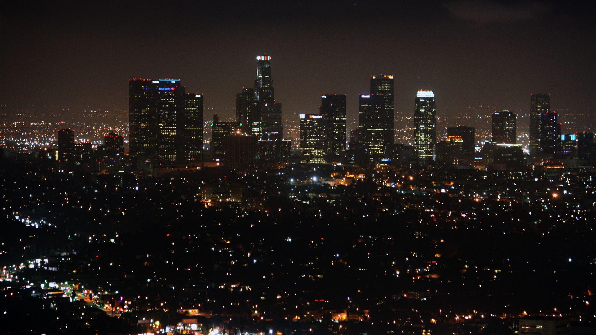 Los Angeles Skyline At Night Wallpaper Google Search Los