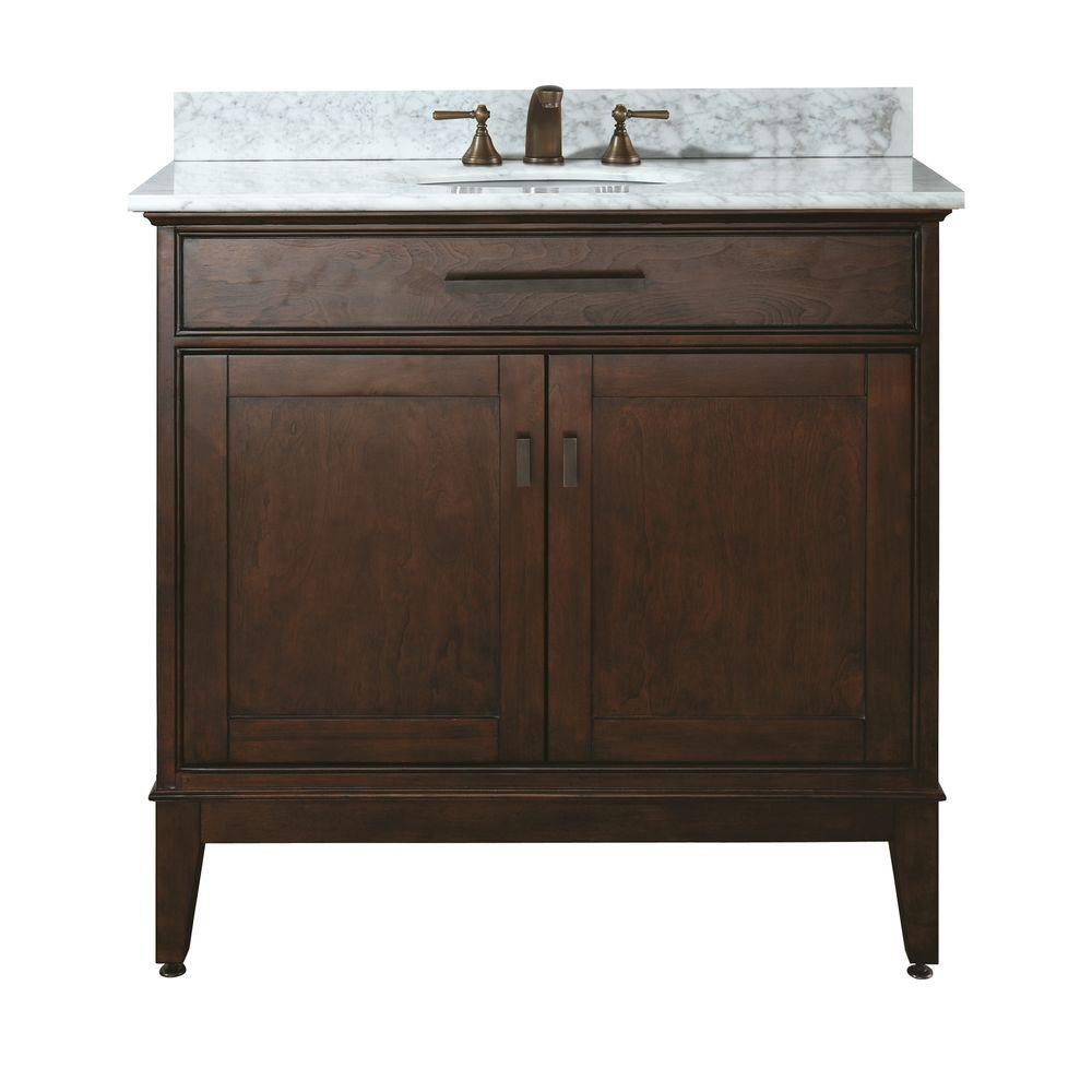 Avanity Madison 37 in. W x 22 in. D x 35 in. H Vanity in Tobacco with Marble Vanity Top in Carrera White and White Basin