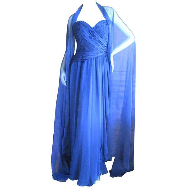 Pre-owned Oscar de la Renta Vintage Strapless Gown with Wrap ...