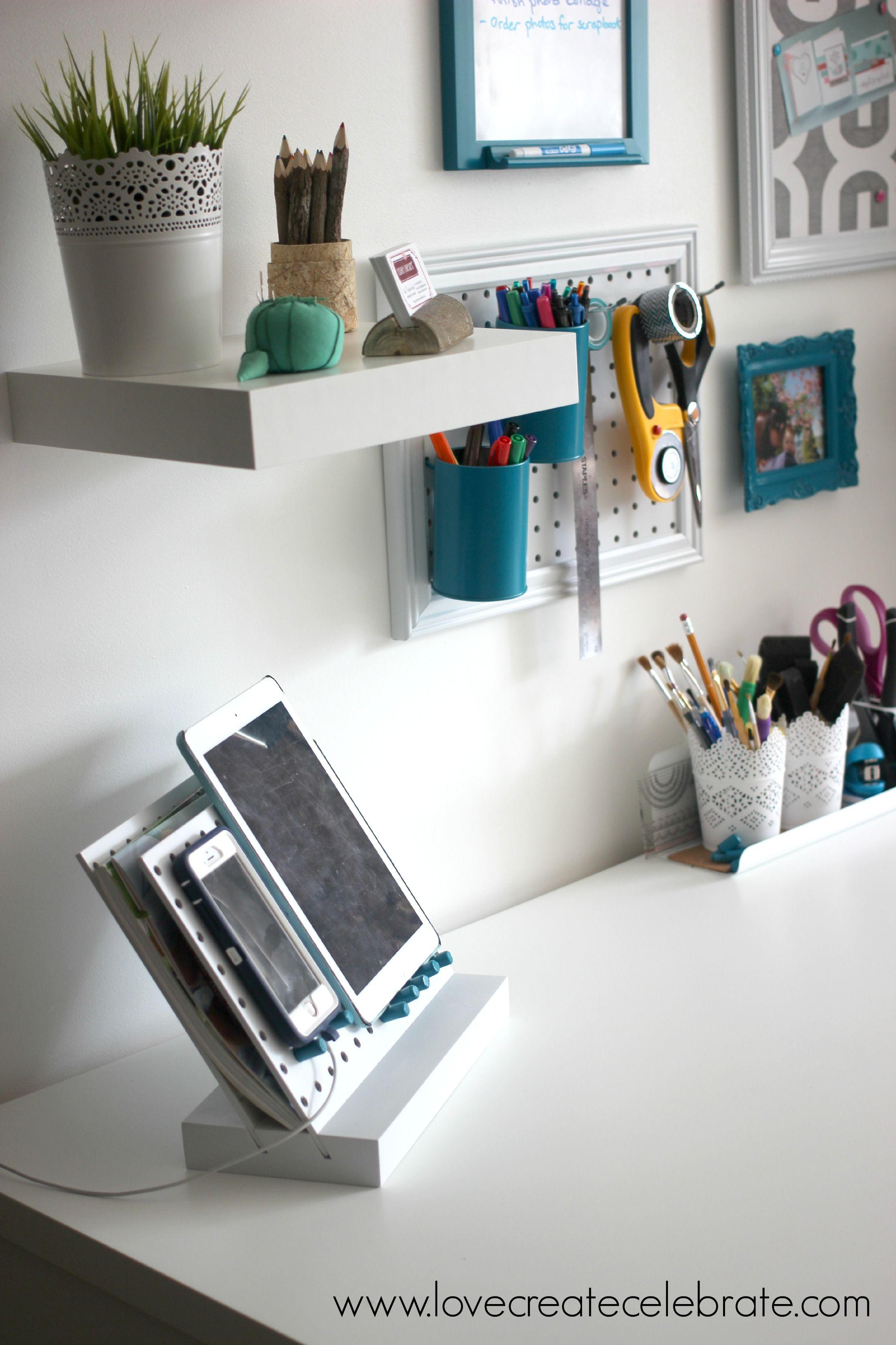 Peg Board Desk Organizer  Office Ideas  Desk