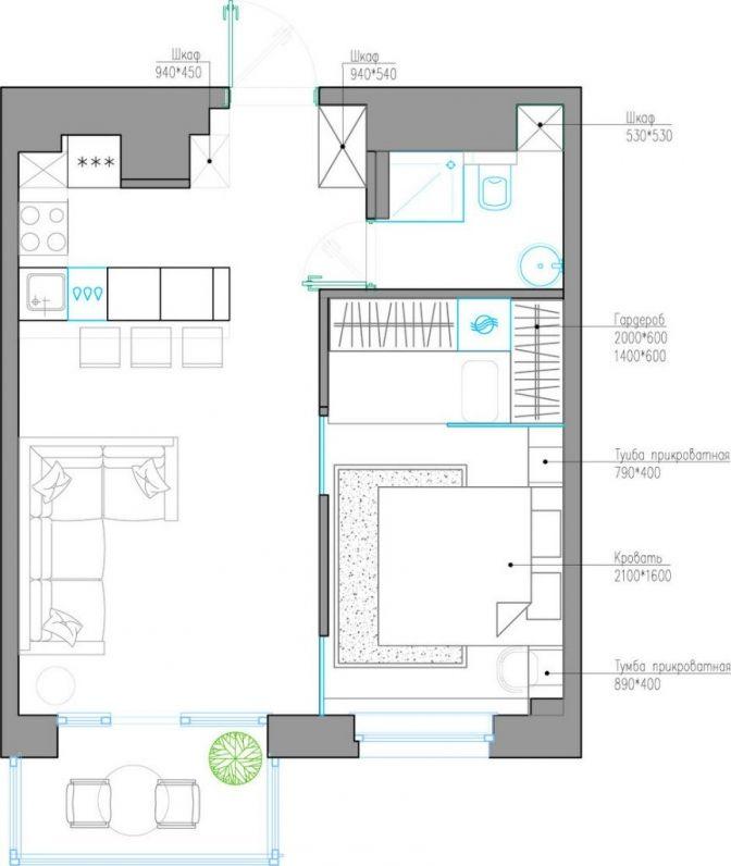 Проект квартиры 41 м2 Дизайн студии Quadro Room - Дизайн интерьеров