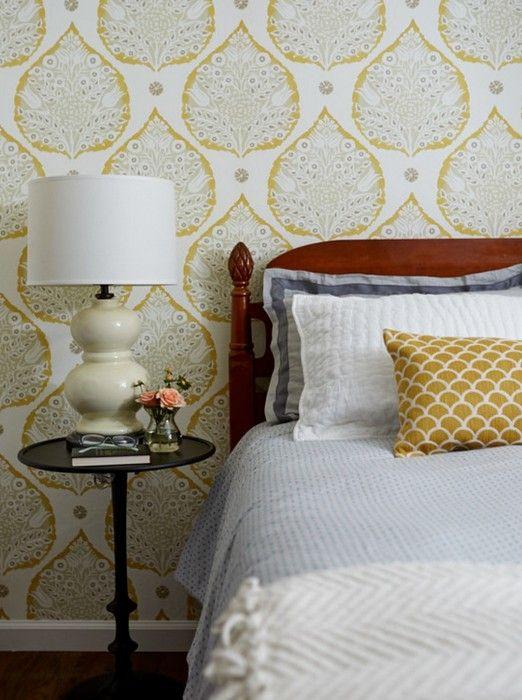 Lotus Wallpaper in Ochre | Galbraith & Paul