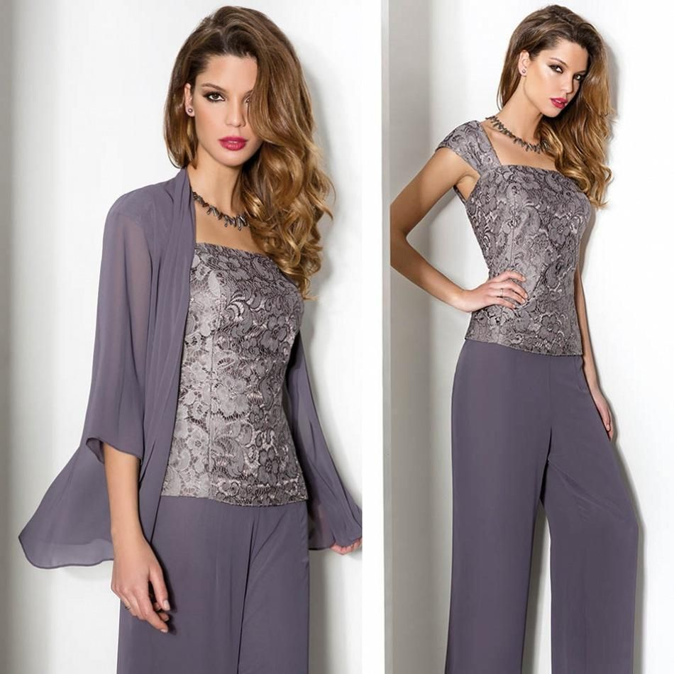 Vintage Lace Mother of the Bride Pant Suits With Long Sleeve ...