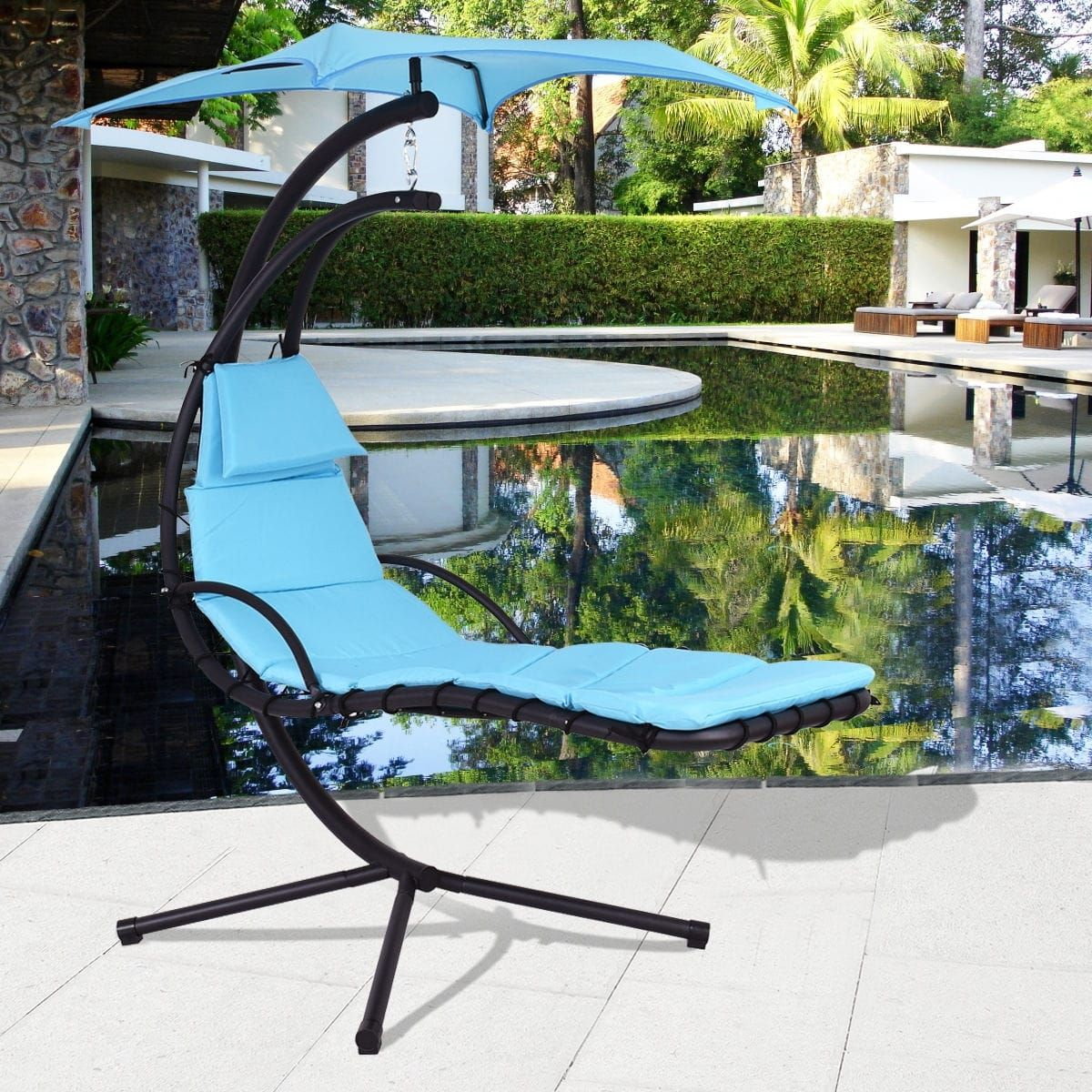 Costway blue hanging chaise lounge chair arc stand air porch swing