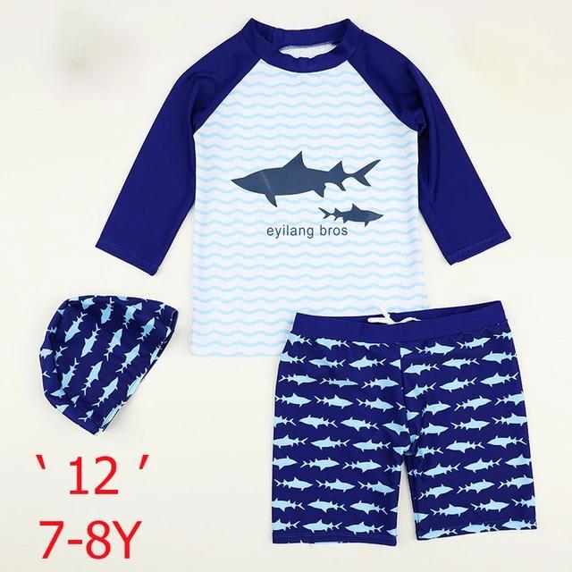 Baby Kids Boys Two Pieces Short Sleeve Uv Rash Guard Swimwear Sun Protection Cartoon Swimsuit with Hat