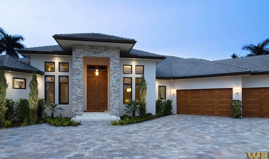 Contemporary House Plan 1 Story Coastal Contemporary Floor Plan Florida House Plans Contemporary House Plans Pool House Plans