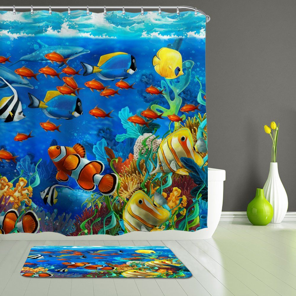 Alfalfa Fish Shower Curtain Ocean Clear Undersea World Sea Animal