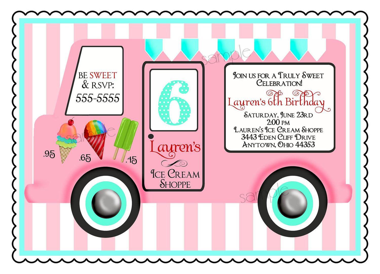 Ice Cream Birthday Party Invitations, Vintage Ice cream Truck, Ice ...