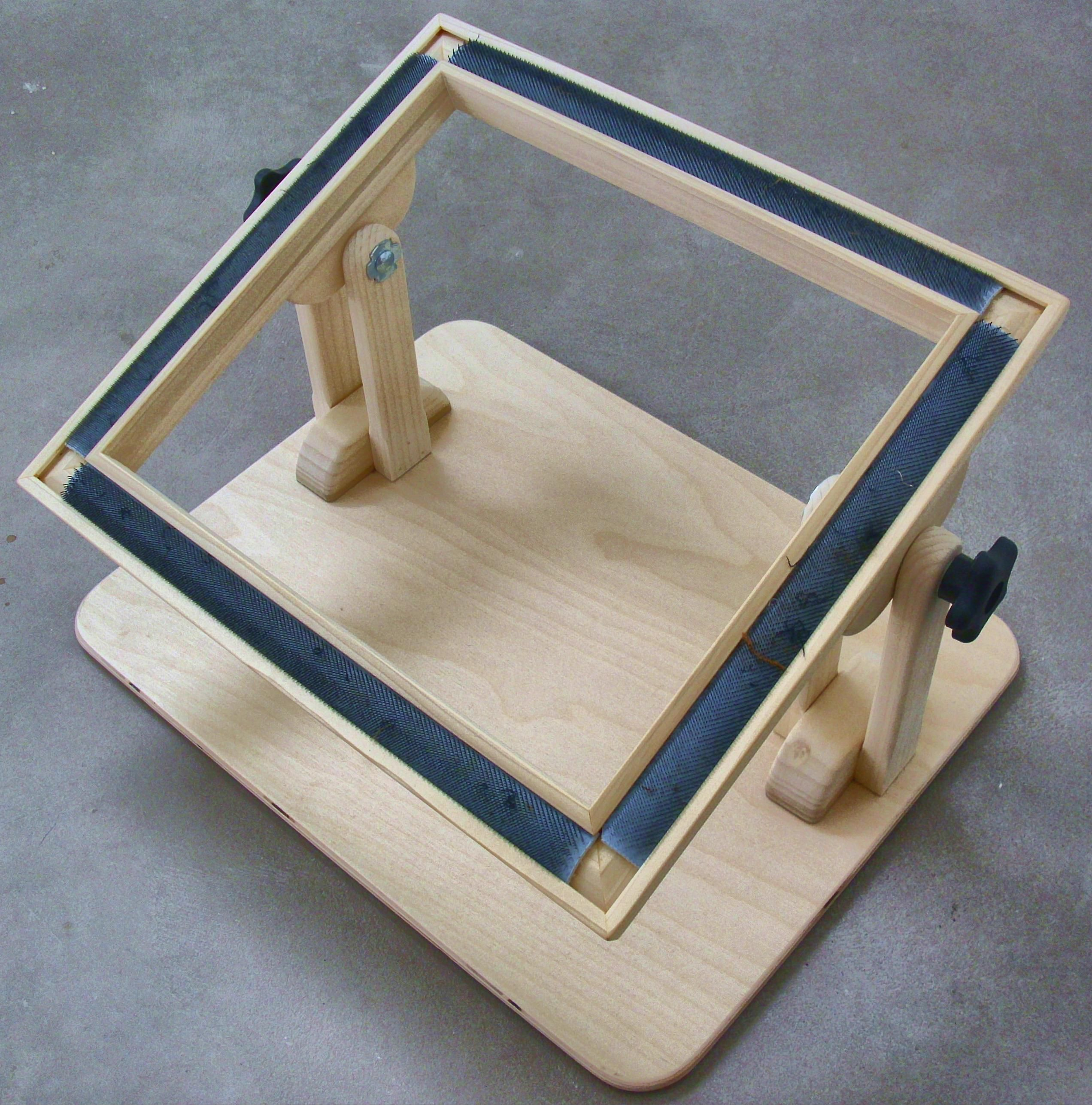 Here Is The Frame Again But This Time It Is Popped Off The Floor Stand You Can Easily Pop It Off The Stand Since Rug Hooking Frames Rug Hooking Rug Making