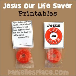 could add one of these to halloween goodie bags bible craft for kids jesus is our life saver candy printable labels - Christian Halloween Stories