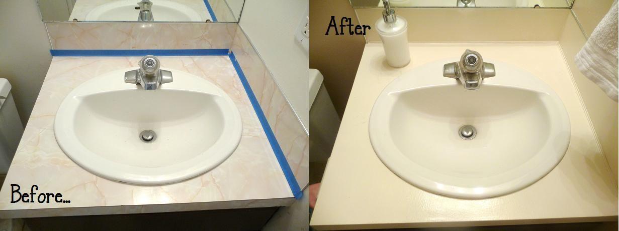 Ake Ohana My Cheapskate Bathroom Makeover Diy Bathroom Makeover Bathroom Makeover Paint Painting Laminate Countertops