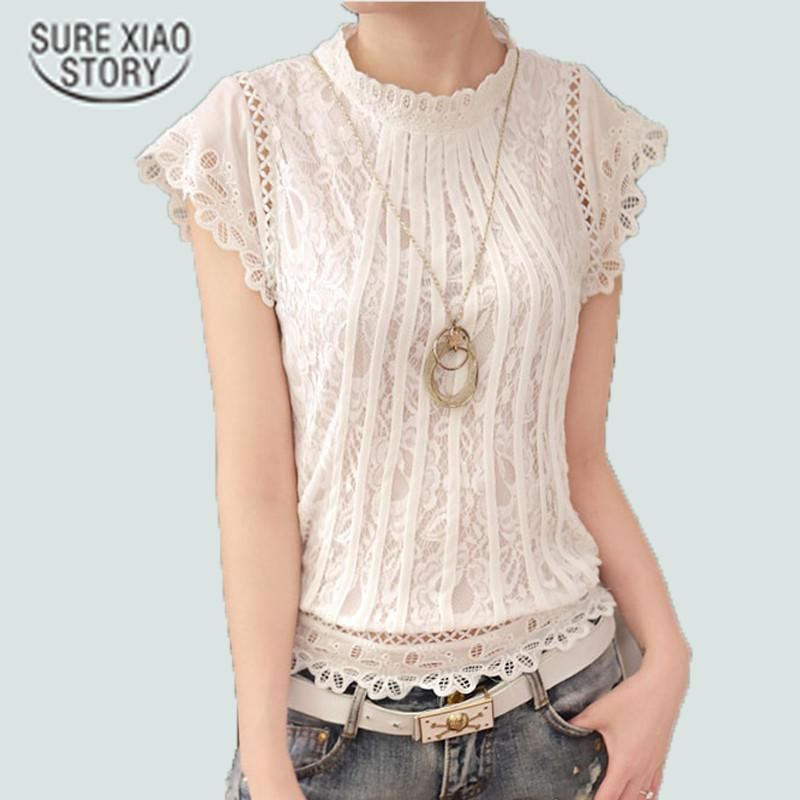 f3ea2aaeef6f8 New Summer Fashion Style Women Blouses Loose Short Petal Sleeve ...