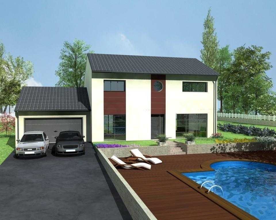 Inès Design est un modèle de maison moderne à étage avec menuiseries - facade de maison moderne