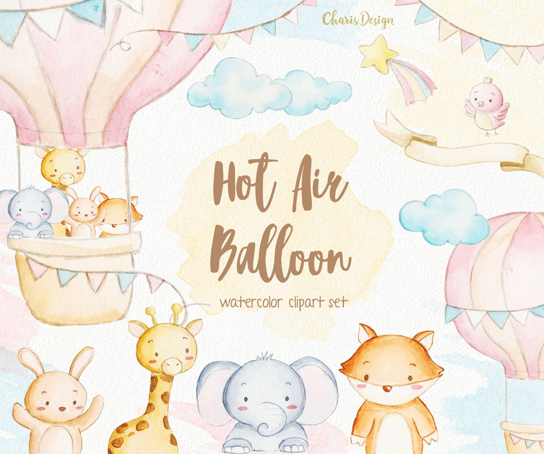 Hot Air Balloon Watercolor Nursery Animal Bunny Elephant Fox Etsy Balloon Watercolor Hot Air Balloon Watercolor Watercolor Nursery Animals