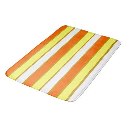 Orange Yellow And White Stripes Bathroom Mat Zazzle Com Bath
