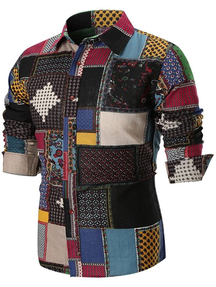 dfe76a4efd613 Button Up Ethnic Geometric Print Shirt - multicolor L