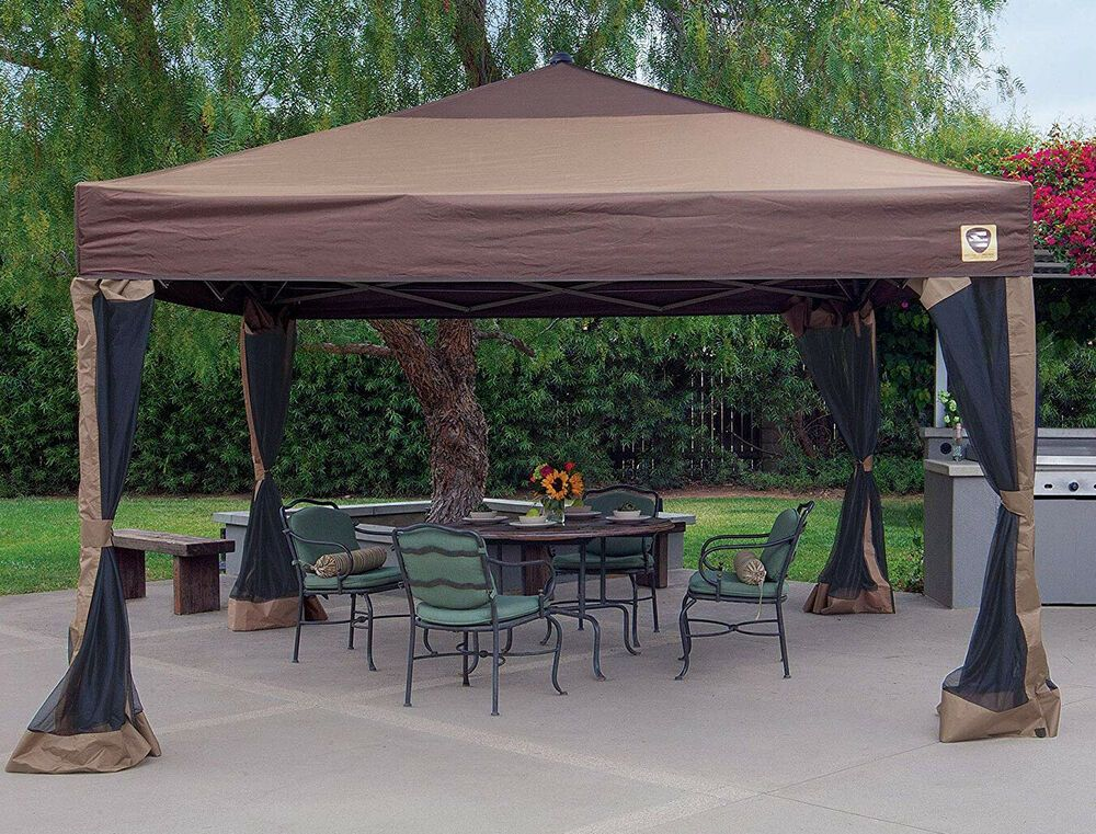 Portable Gazebo Large Canopy 12 X 12 Steel Frame Screened Mosquito